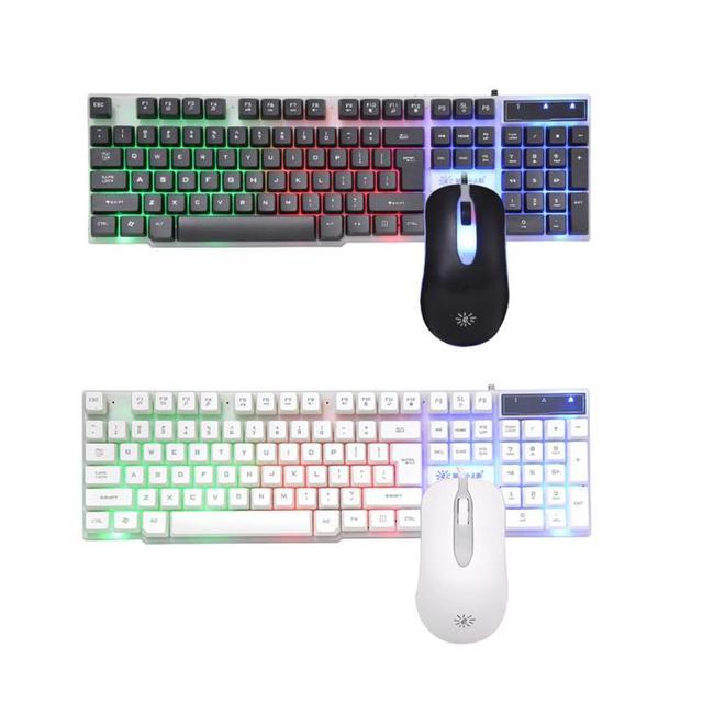 SUNROSE T20 cable USB 104 teclas Teclado + Ratón salpicaduras conjunto de la Oficina para el hogar Juegos de ordenador Juegos de teclado y ratón Combos para LOL.