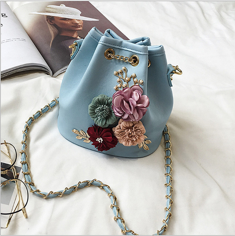 2018 New Pattern Fashion Sweet Lady Flower Woman Package Take Bring Bucket Package Single Shoulder Span Woman Package2018 New Pattern Fashion Sweet Lady Flower Woman Package Take Bring Bucket Package Single Shoulder Span Woman Package