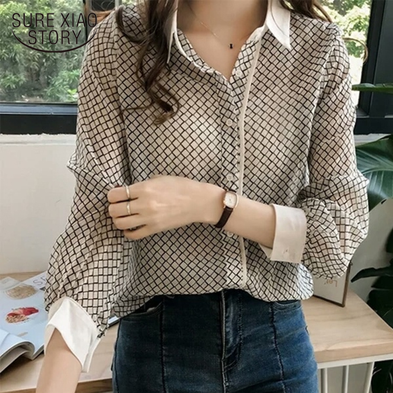 Autumn 2019 Fashion Plus Size   Blouse   Women Striped tops female Chiffon   Blouses     Shirt   Long Sleeve   Shirt   3XL 4XL Blusa 1175 40