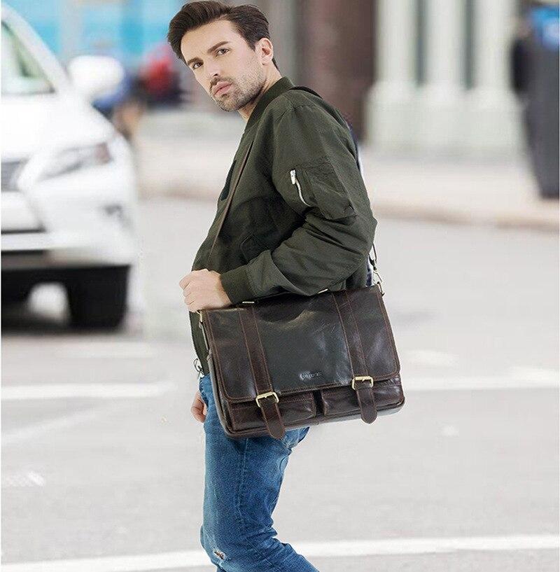 2019 affaires hommes en cuir véritable sac 14 ''ordinateur portable fourre-tout porte-documents pour hommes bandoulière sac à main homme Messenger sac mallca - 6