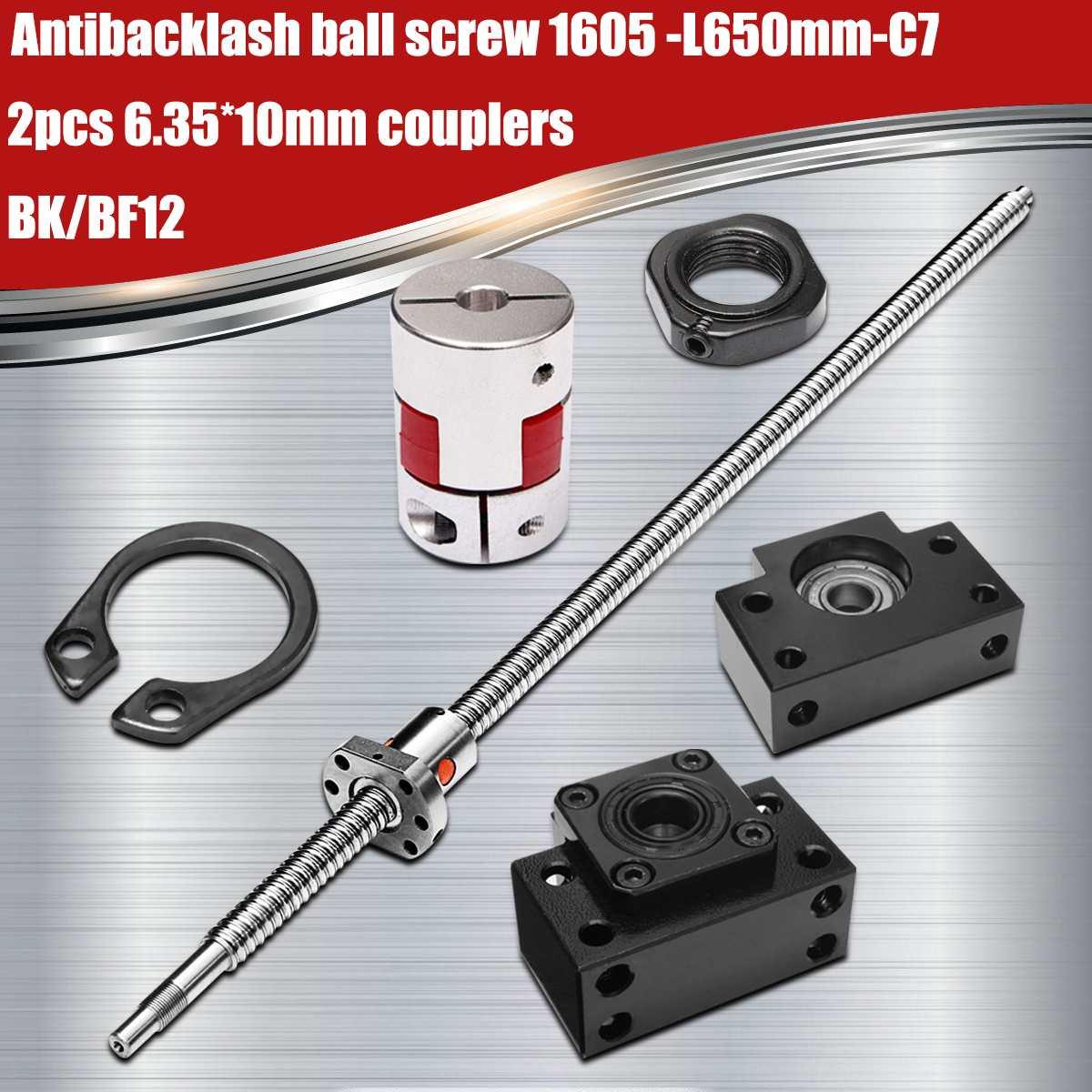 SFU1605-650mm laminé à vis à billes 1605-L650mm-C7 + BK/BF12 Soutien + 2 pièces 6.35*10mm coupleurs