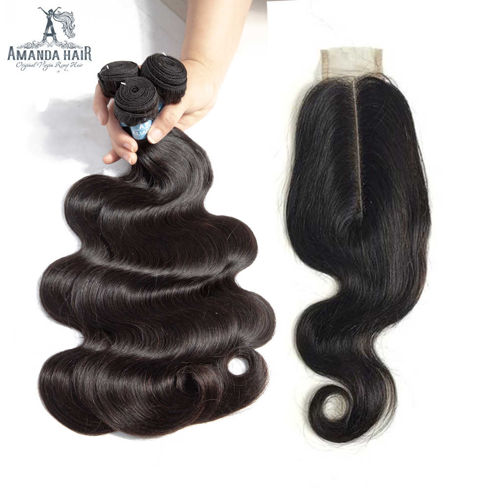 Amanda Double Drawn Brazilian virgin hair Body Wave With kim K Closure 100% Unprocessed Human Hair Bundles With Closure 2*6
