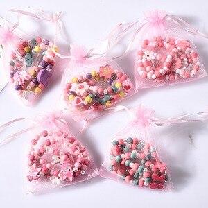 فتاة الخرز اللعب قلادة + سوار الفراشات الزهور الطفل اليدوية إكسسوارات عقد الأميرة الأطفال هدايا عيد الميلاد
