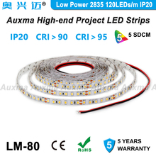 Low Power 2835 120LEDs/m LED Strip,CRI95 CRI90,IP20,DC12V/24V,9.6W/m,600LEDs/Reel,Non-waterproof,for indoor,living room,hotel