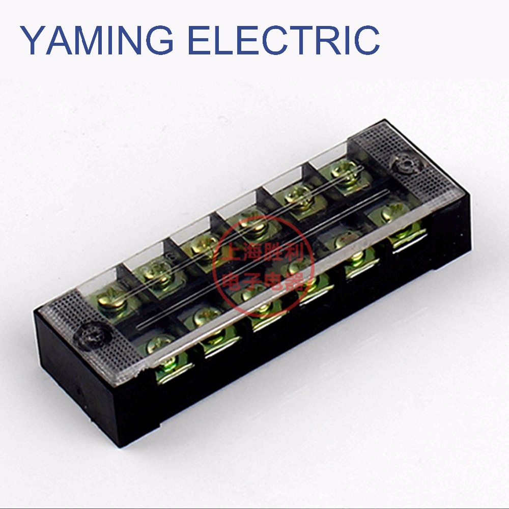 P74 TB-2506 1 piece Dual Row Barrier Screw Terminal Block Wire Connector 600V 25A 6 position Electric Wire Connection
