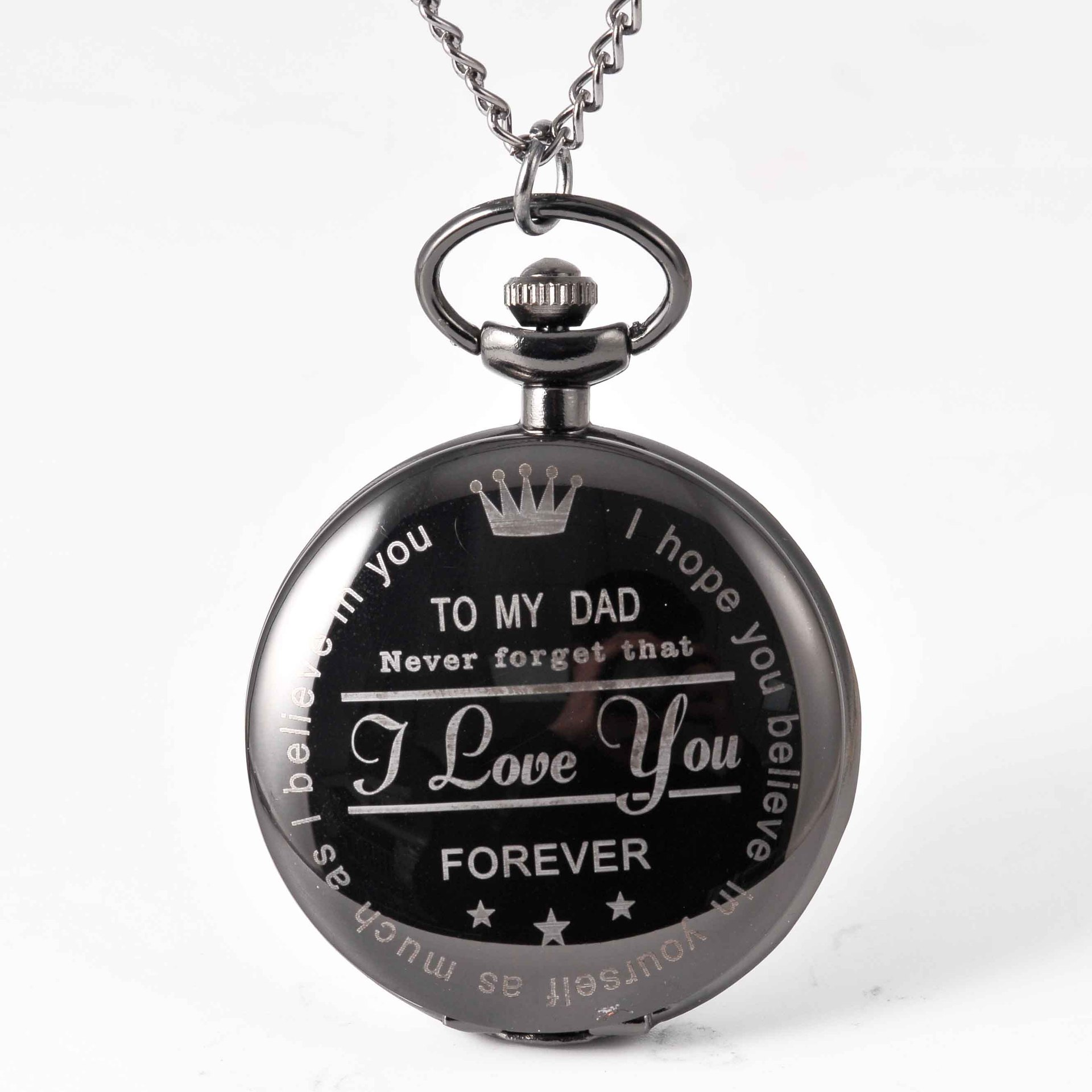 Pocket & Fob Watches To My Dad  Pocket Watch Necklace I Love You Forever Quartz Watch  for  Father Day's Gift Watch