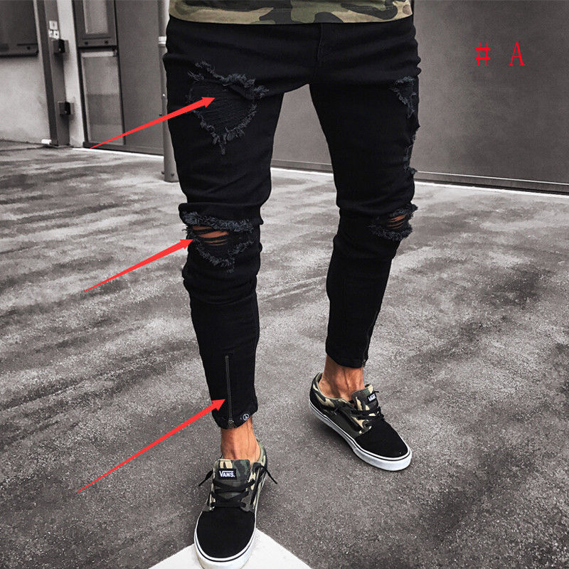 Fashion Men's Ripped Skinny Jeans Destroyed Frayed Slim Fit Pant Zipper