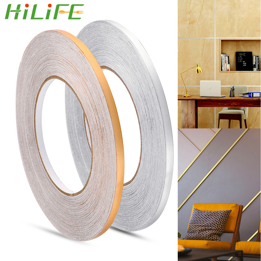 HILIFE Home Decor 50x0.05m Gap Sealing Foil Tape Waterproof Gold Silver DIY Copper Foil Strip Wall Sticker Floor Seam Sticker image