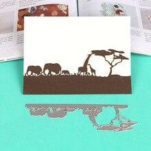 DUOFEN METAL CUTTING DIES African silhouette grassland animals elephants rhino camels stencil DIY Scrapbook Paper Album 2019 new