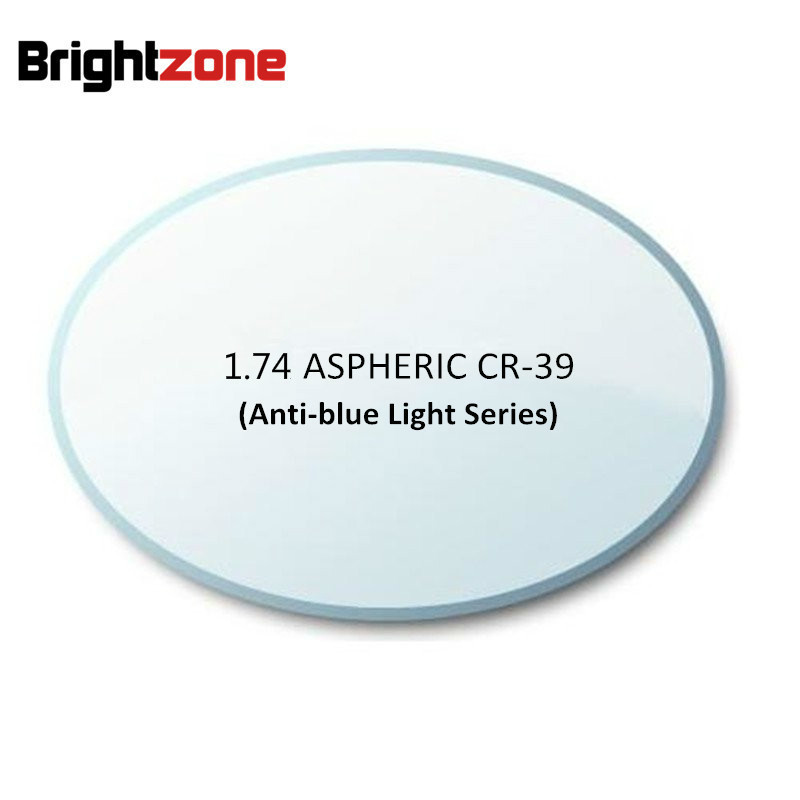 1,74 Супер тонкий асферический синий светильник, блокирующий компьютерное излучение, УФ защита, AR CR 39, полимерные оптические очки, линзы по ре...