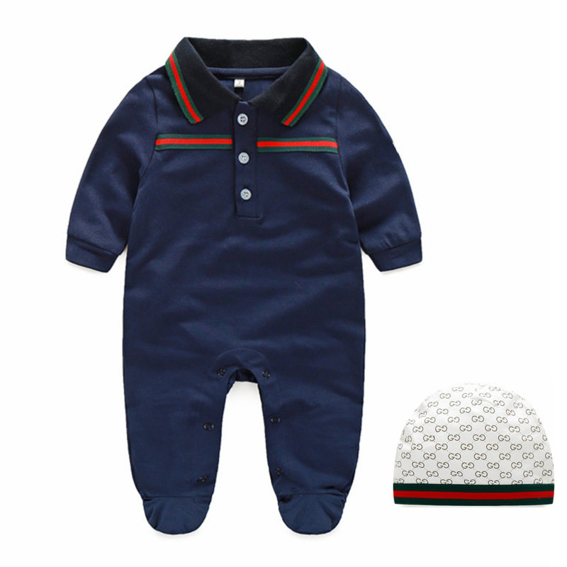 2019 Spring European Baby white and dark blue long-sleeved cotton piece   Romper   climbing clothes baby boys and girls   Romper   Sets