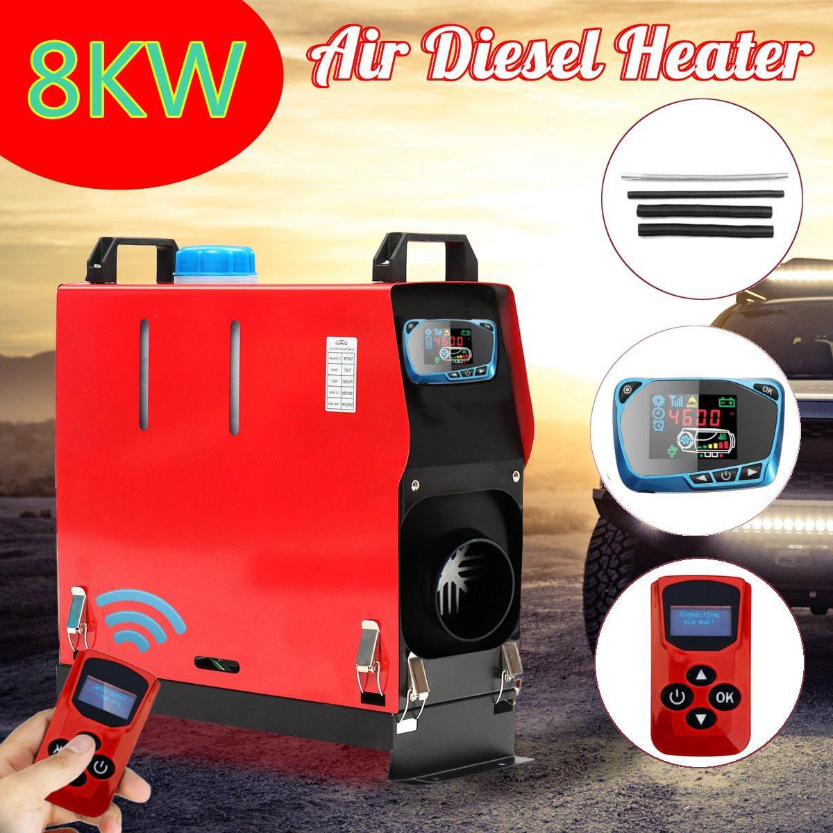 8000 W Air diesels chauffage 8KW 12 V 1 trou voiture chauffage pour camions camping-Car bateaux Bus + LCD interrupteur à clé + silencieux + anglais à distance