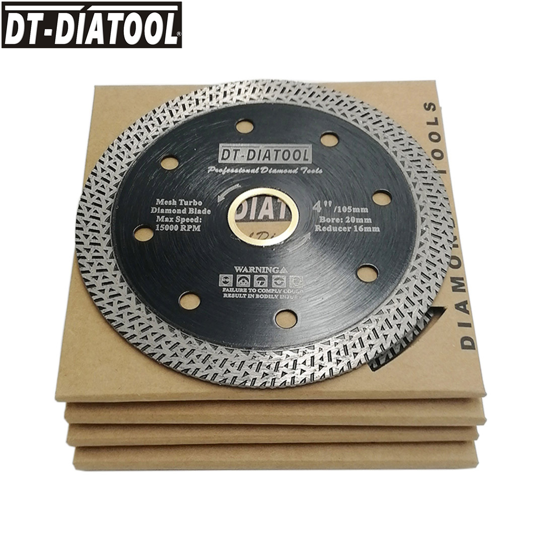 DT-DIATOOL 5pcs/set  4 4.5 or 5inch Hot pressed Cutting Disc Diamond Wheel Mesh Turbo Saw blades for Tile Marble