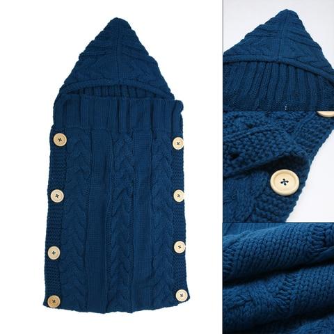 Baby Infant Swaddle Wrap Warm Wool Blends Crochet Knitted Hoodie Swaddling Wrap Blanket Sleeping Bag Multan