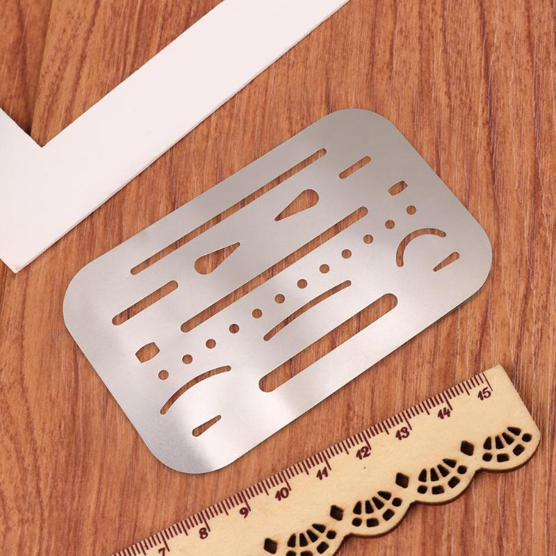 Drafting Ruler Stainless Steel Erasing Shield Hollow Out Drawing Drafting Polishing Rulers with 26 Precision Processing Holes