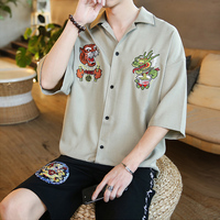 2019 Summer Men's Loose Embroidery Short Sleeve Male French Cuff Shirts Fashion Trend Lapel Collar Shirts Big Size M 5XL
