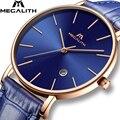 MEGALITH мужские роскошные часы водонепроницаемые аналоговые наручные часы с датой синие часы из натуральной кожи мужские часы Relogio Masculino