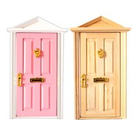 2pcs 1:12 Scale Dollhouse Furniture Wooden Door with Metal Knocker Model Miniature Doll House Accessories Decoration Toys