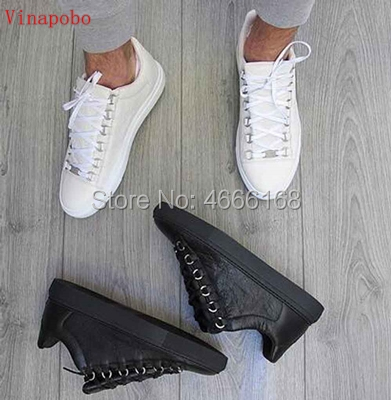 Hot Quality Lace Up Low Top Slip-on Men Trainers flats Casual Breathabl Leisure Shoes Outdoor Re'd Wrinkled Leather Man Shoes