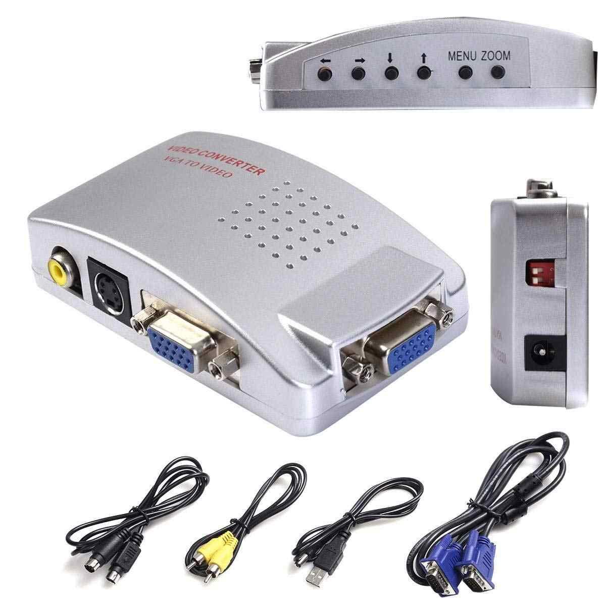 VGA إلى AV TV RCA مركب محول محول S-صندوق فيديو لأجهزة الكمبيوتر المحمول ويندوز ماك (الكمبيوتر إلى التلفزيون)
