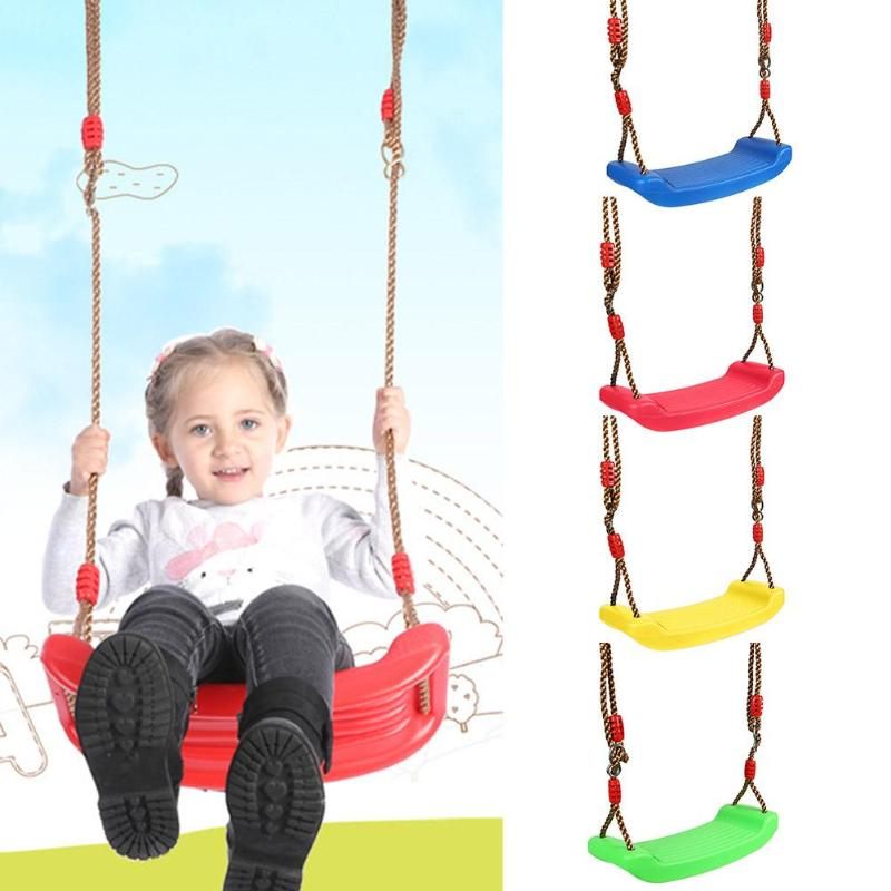 Children Fun Outdoor Sport Toy Swings Plastic Garden Swing Kids Hanging Seat Toys With Height Adjustable Ropes