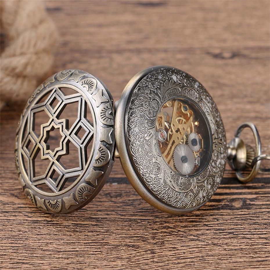 Купить с кэшбэком Vintage Hollow Half Hunter Pocket Watch Mechanical Hand Winding Exquisite Pocket Pendant Watch Gifts for Men Women with Chain
