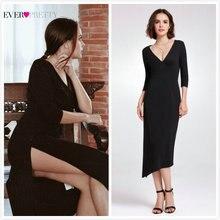 Черное коктейльное платье в стиле Русалочки Ever Pretty AS05941 сексуальное простое платье с v-образным вырезом и рукавом до локтя Коктейльные элегантные платья для вечеринки