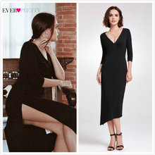 82ffccf5a65 Petite sirène noir robes de Cocktail jamais jolie AS05941 2019 col en v  Sexy Simple demi