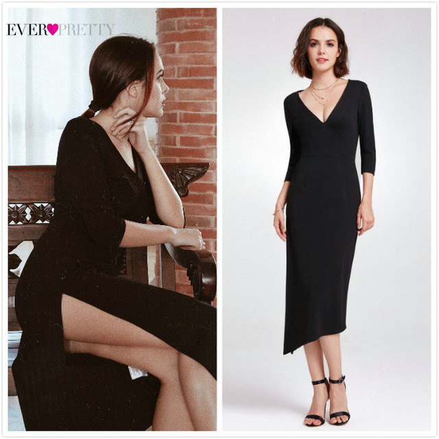 255c8a4eb2451 US $17.99 40% OFF|Aliexpress.com : Buy Little Mermaid Black Cocktail  Dresses Ever Pretty AS05941 2019 V neck Sexy Simple Half Sleeve Robe  Cocktail ...