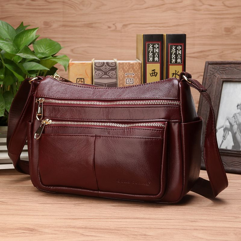 High Quality Genuine Leather Shoulder Messenger Bags Luxury Female Casual Shopping Fashion Natural Skin Women Hobo