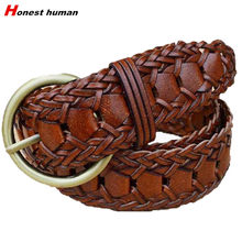 2019 New Designer Women and Men Braided leather Belts Fashion Vintage round buckle Jeans Belt waistband Handmade Strap coffee(China)