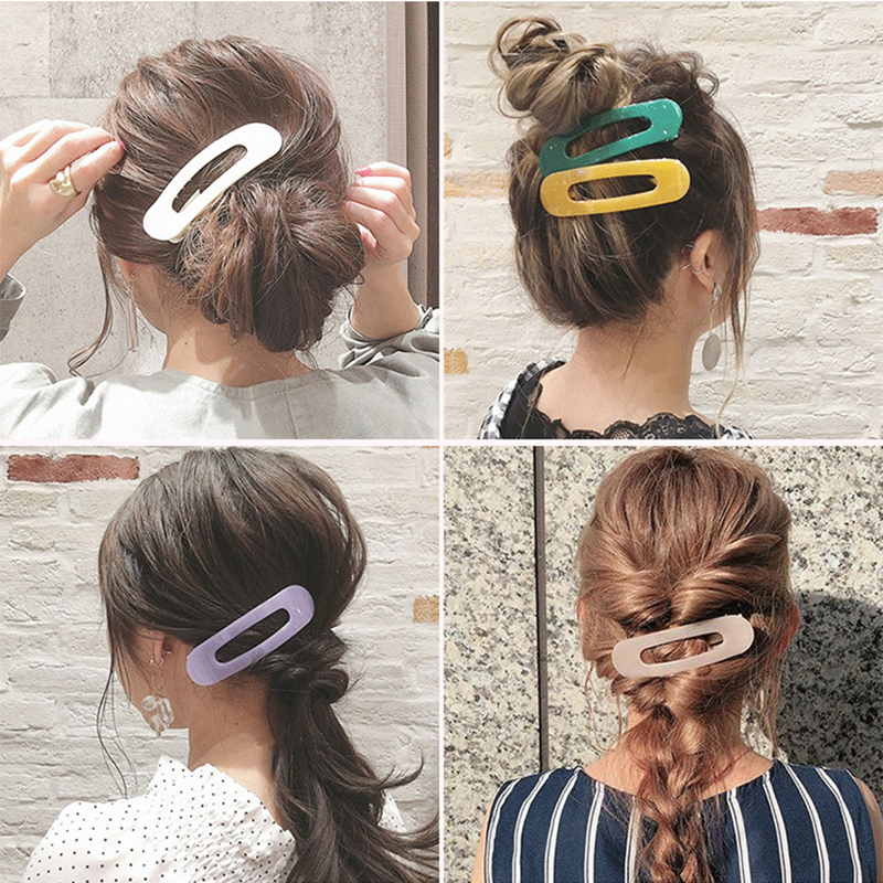 New Simple Macaron Color Duckbill Clip Large Size Acrylic Japanese Women Barrettes Bangs Hairpin Girl Hair Clips