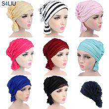 Moslim Cap Vrouwen Hoed Hijab Ruche Dames Kanker Tulband Chemo Cap Abaya Beanie Sjaal Cap Head Wrap Hoed Innerlijke Cap motorkap Mode