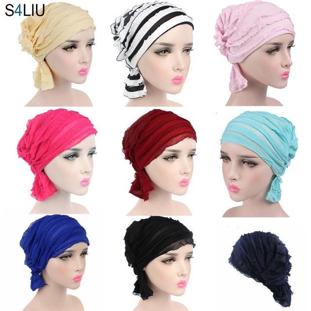 Muslim Cap Women Hat Hijab Ruffle Ladies Cancer Turban Chemo Cap Abaya Beanie Scarf Cap Head Wrap Hat Inner Cap Bonnet Fashion
