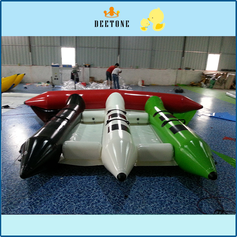 US $680 0 |Popular water sports game 0 9mmPVC6 person seat inflatable  flying fish banana boat sale-in Surfing from Sports & Entertainment on