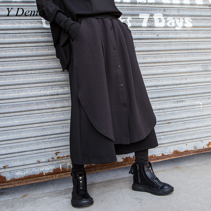 Streetwear Loose Women Split Single Breasted   Wide     Leg     Pants   Casual Elastic Waist Oversized Ankle-length   Pants