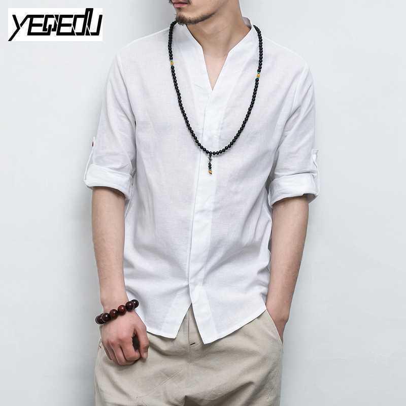 #4429 Di Modo Del Cotone Kimono Camicette Gli Uomini Di Stile Cinese Manicotto Dei Tre Quarti Più Il Formato Abbigliamento Uomo Camicia Di Lino Uomini Mandarino Collare Prezzo Ragionevole