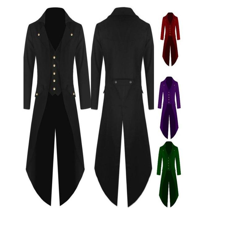 Men's Outwear Steampunk Vintage Tailcoat winter military Jacket Gothic Victorian Frock Coats Batman Uniform Costume M-4XL Plus