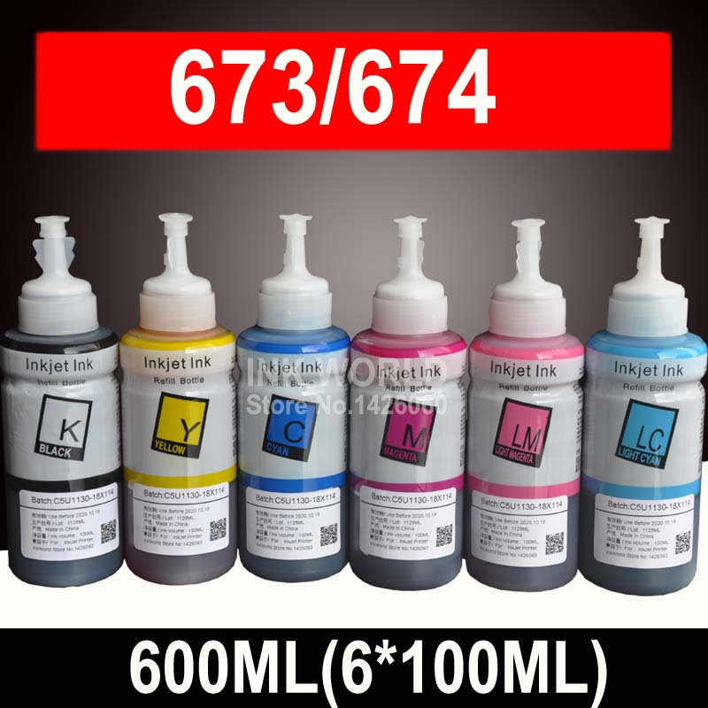 600ML Ink Refill Kit Compatible EPSON L800 L805 L810 L850 L1800 L351 L350 L551 Printer Ink T6731 T6732 T6733 T6734 T6735 T6736