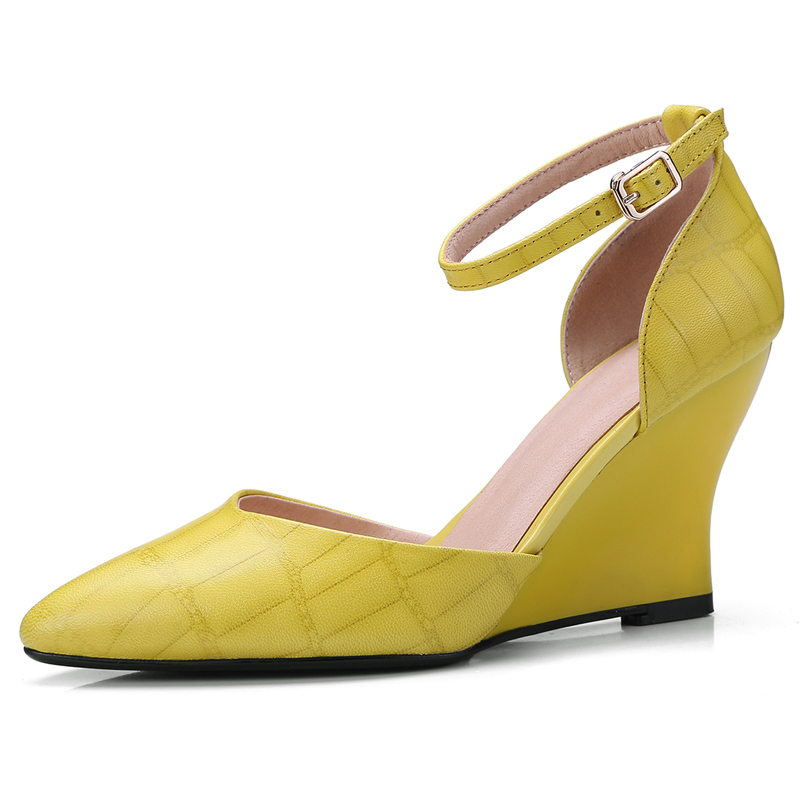 Womens Genuine Leather Yellow Wedges Plus Size Summer Sandals 8 CM High Heels Sexy Buckle Dress Shoes Box Packing 8103Womens Genuine Leather Yellow Wedges Plus Size Summer Sandals 8 CM High Heels Sexy Buckle Dress Shoes Box Packing 8103