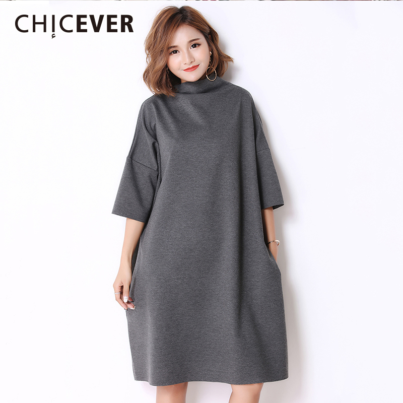 CHICEVER Autumn Female Dresses For Women Turtleneck Half Sleeve Loose Oversize Women's Dress Fashion Casual Clothing New