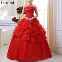 2019 New Arrive Korean Style Red fashion girl crystal princess bridal dress sexy Lace apparel style formal Lanxirui dresses