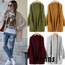 Long Sleeve Knitted Open Stitch Loose Cardigan Tops