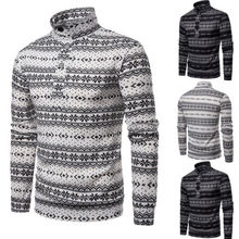 2018 Christmas Style Winter Pullover Sweater Mens Printed Long Sleeve Sweaters Casual Slim Fit Sweaters
