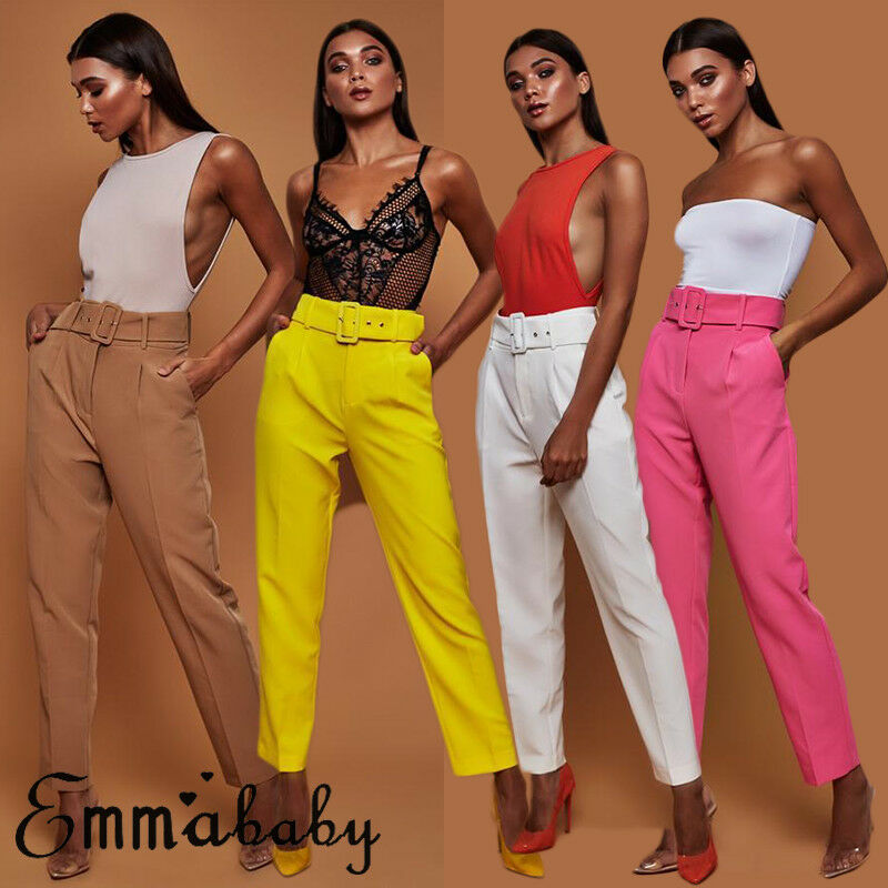 Elegant Women High Waist OL Career Pants Ladies Long Loose Casual Trousers With Belt Fashion Elastic Drawstring Trousers