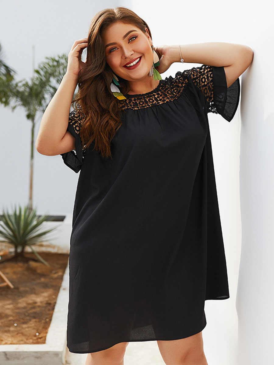 Летнее женское черное платье, повседневное, большие размеры, свободное, с коротким рукавом, кружевное, выдолбленное, сексуальное, над размером d дамское короткое платье