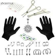 1 Набор инструментов для пирсинга, профессиональный набор инструментов для пирсинга, стерильные кольца для живота, наборы игл, инструменты для хрящей Украшения для тела
