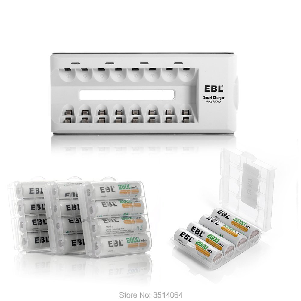 Bloc de 16 piles rechargeables EBL AA (ProCyco 2800 mAh) avec chargeur de piles AA AAA