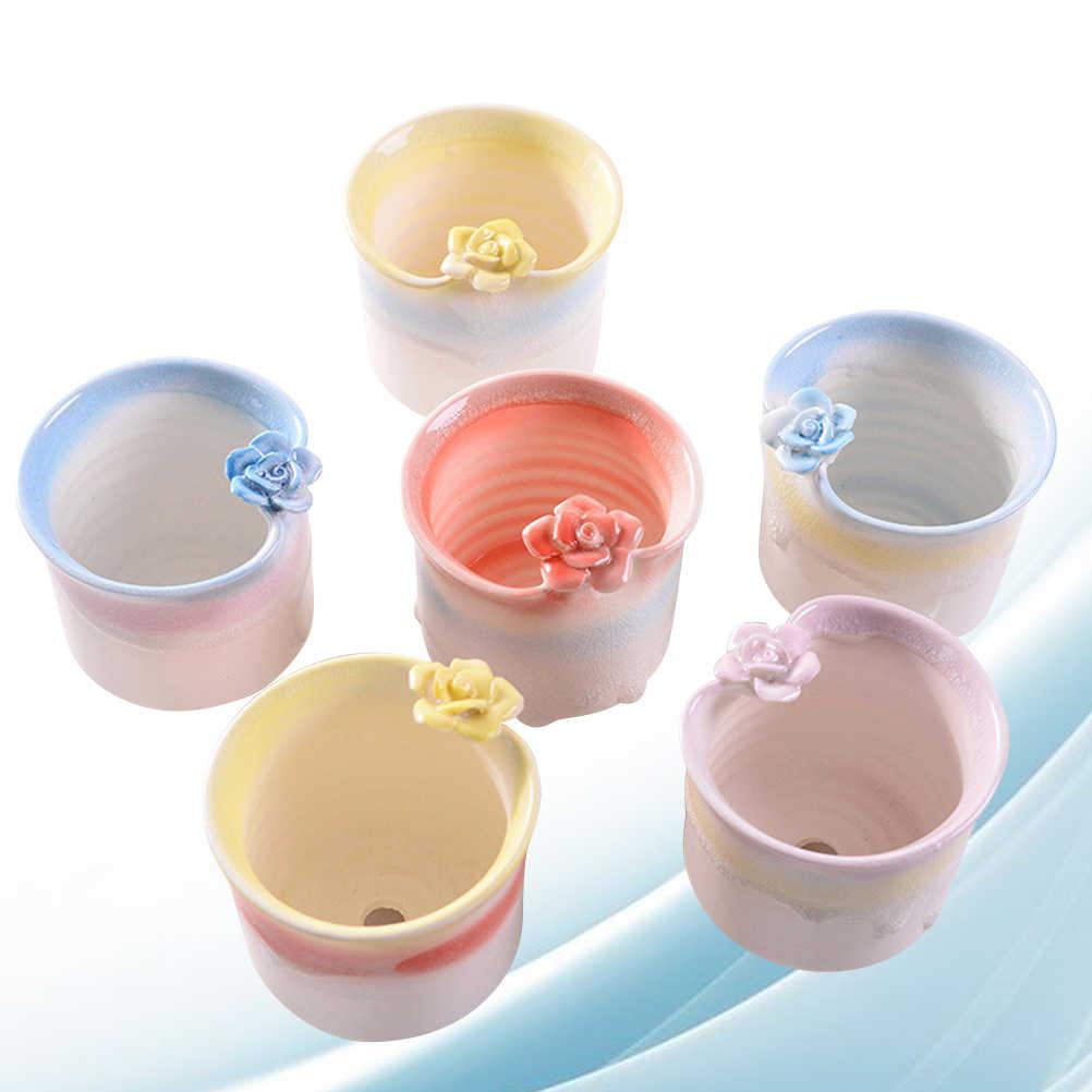 6 PCS Vasos De Flores Em Cerâmica Criativa Suculenta Carnuda do Gelo Rachada Desktop Home Office Presente Vaso de Flor Pote de Cerâmica Titular
