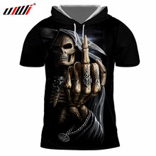 UJWI Men's Cap Tshirts Print Finger Skull 3D T-shirts With Hood Man Hip Hop Short Sleeve Pullovers Hoody Summer Fashion Tops(China)